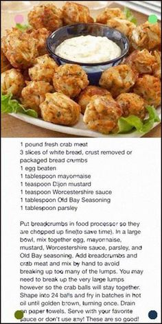 Frugal Food Items - How To Prepare Dinner And Luxuriate In Delightful Meals Without Having Shelling Out A Fortune Crispy Crab Nuggets Crab Cake Recipes, Fish Recipes, Seafood Recipes, Appetizer Recipes, Cooking Recipes, Crab Appetizer, Recipies, Keto Recipes, Comida Pizza