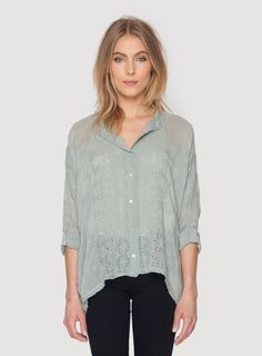 Johnny Was Collection Chloe Boxy Button Down Blouse in Smoke Grey
