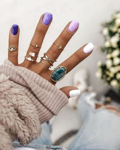 Spring nails nail designs 2019 – page 148 of 200 – nagel-design-bilder. Best Acrylic Nails, Summer Acrylic Nails, Summer Nails, Spring Nails, Ten Nails, Dream Nails, Purple Nails, Gradient Nails, Purple Ombre