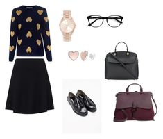 A fashion look from March 2018 featuring blue sweater, flared skirts and leather shoes. Browse and shop related looks. Furla, Blue Sweaters, Flare Skirt, Leather Shoes, Rebecca Minkoff, Fashion Looks, Michael Kors, Skirts, Polyvore