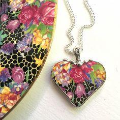 Broken china necklace. antique Hazel chintz Broken china by dishfunctionldesigns