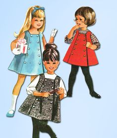 1960s Vintage McCalls Sewing Pattern 6937 Toddler Girls A-Line Jumper Dress Sz 2