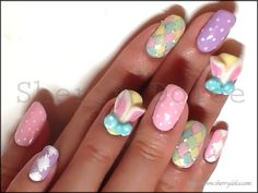 Pretty Pastel Pink Yellow blue Purple Easter Themed Bunny Japanese Nail Art Manicure