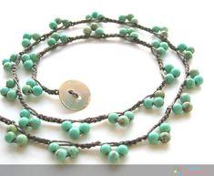 low to medium casual setting: Bohemian Lace, Bohemian jewelry, Turquoise necklace, hippie chic Jewelry Crafts, Jewelry Art, Beaded Jewelry, Handmade Jewelry, Jewelry Design, Beaded Bracelets, Necklaces, Jewelry Model, Wrap Bracelets
