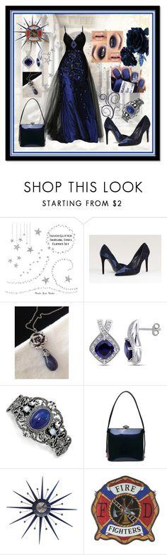 """Royal Blue/Black Gown - Fireman's Ball"" by aurorasblueheaven ❤ liked on Polyvore featuring Fratelli Karida, Lazuli, Miadora, 1928 and Meyda"