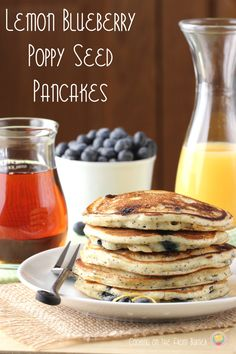 Lemon Blueberry Poppy Seed Pancakes from Cooking on the Front Burner as seen on Juggling Act Mama #lemon #blueberry #poppyseed #pancakes http://jugglingactmama.com/2014/03/lemon-blueberry-poppy-seed-pancakes.html