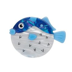 "Fun Loving Fugu - ""A tough puff who is always on the defensive. It's a hostile environment in those depths. And yet all you see is a deadly delicacy. Fisher, Round Gift Boxes, Fun Loving, Nihon, Halloween Cat, Blue Accents, Animal Jewelry, Fused Glass, Brooch Pin"