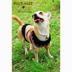 Small Dog Clothes Puppy Sweater Handmade crochet by myknitt #etsy #diy #crafts #art #dog #cute #cat #pet #crochet