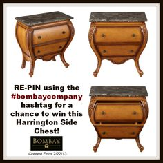 Re-Pin using the #bombaycompany hashtag for a chance to win this Harrington Side Chest!