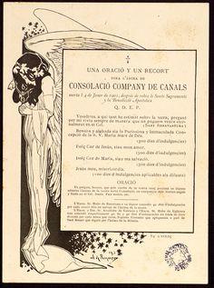 Recto de Recordatori de defunció de Consolació Company. Alexandre de Riquer (1901)