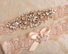 a5f0a74faf3 Wedding Garter set Rose Gold Bridal Garter set by GarterQueen