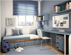 chambre d'ado garçon en bleu clair, sol en parquet tapis bleu clair