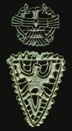 TWO BACTRIAN BRONZE STAMP SEALS -  CIRCA LATE 3RD MILLENNIUM B.C. dogfish and double-headed eagles, Mithra-esque; eagle