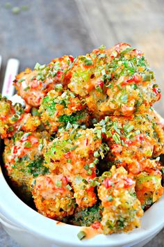 Feb 19, 2017 - Asian inspired fried broccoli, coated in panko and drizzled with a sweet and spicy bang bang sauce. Plant based and totally delicious! Delicious Vegan Recipes, Real Food Recipes, Vegetarian Recipes, Healthy Recipes, Dairy Free Recipes, Meat Appetizers, Appetizer Recipes, Fried Broccoli, Sweet And Spicy Sauce