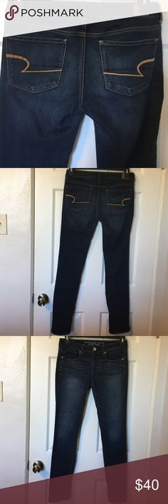 """American Eagle Super Stretch Skinny Jeans In good condition no rips, holes or stains no thigh rubbing. Inseam 31"""" Rise 9"""" I love these Jeans they go with everything. I usually fold them because of the length. American Eagle Outfitters Jeans Skinny"""