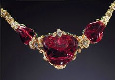 The Timur ruby is an unfaceted, 361-carat polished red spinel gemstone set in a necklace in 1853, part of the British Crown Jewels. It is named after the ruler Timur. It was believed to be a ruby until 1851. When the British annexed the Punjab in 1849, they took possession of the Timur ruby & the Koh-i-Noor diamond from Ranjit Singh. The two gems have been in the same collection together since 1612. The East India Company presented the Timur ruby to Queen Victoria as a gift in 1851.