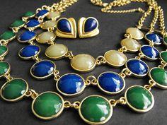 Mediterranean Blue Green Glass Triple Row Statement Necklace + Earrings    *MM* #Unbranded #Statement