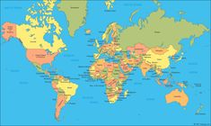Printable map of the world for free download also buy high world map showing continents oceans gumiabroncs Gallery