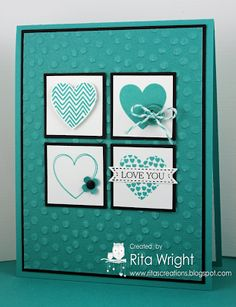 Stamps:  Hearts a Flutter, Itty Bitty Banners Ink:  Bermuda Bay, Basic Black Paper:  Bermuda Bay, Basic Black, Whisper White, Bermuda Bay Corediations Accessories:  Brights Designer buttons, Bermuda Bay baker's twine (from Tag a Bag Accessory Kit), Neutral Candy Dots Tools:  Big Shot, Decorative Dots TIEF, Bitty Banner Framelits, Itty Bitty Punch Pack