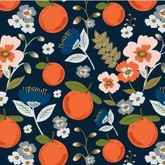 Citrus pattern by Teresa Can Rogol #fruit #print #oranges