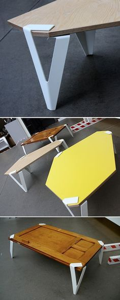 Off the ground by Jochem Faudet  I think this is a very elegant way of combining sheet metal and wood. A nice way to have interchangeable table legs