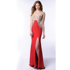 Envious Couture 15349 Christmas Dress Long V-Neck Sleeveless ($457) ❤ liked on Polyvore featuring dresses, gowns, formal dresses, long evening dresses, christmas dresses, long gowns, long ball gowns and red carpet dresses