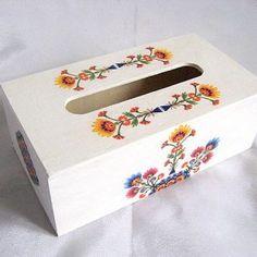 Model de flori simple in culori vii, cutii servetele hartie