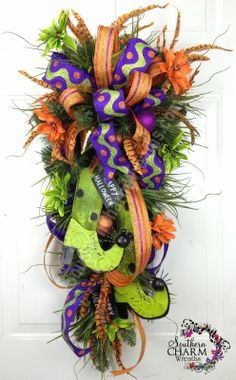 Halloween Swag For Door or Wall Whimsical Lime Purple Orange Witch Boots Spiders