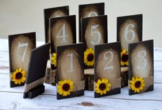 sunflower wedding decorations, fall table numbers, rustic fall wedding, serving and dining table decor, wood table numbers,  reception decor
