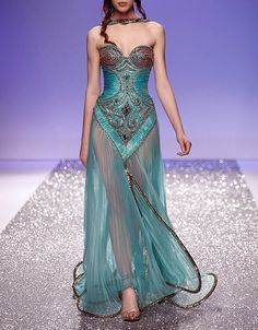 Magical Teal and Bronze Bodice and Sheer Overskirt