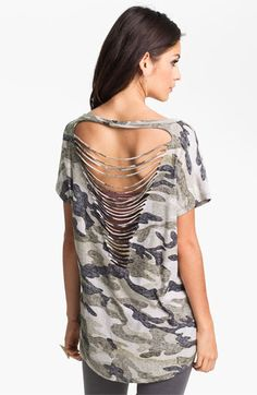 Just bought this, so comfy >> BP. Camo Print Slash Back Tee (Juniors) available at Nordstrom
