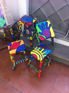 Stools or Tables? Hand Painted Chairs, Whimsical Painted Furniture, Painted Stools, Wooden Stools, Hand Painted Furniture, Painted Rocking Chairs, Art Furniture, Repainting Furniture, Funky Furniture