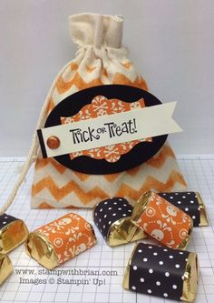 Best of Halloween, Mini Muslin Bags, Stampin' Up! Fall Paper Crafts, Halloween Paper Crafts, Candy Crafts, Theme Halloween, Halloween Projects, Halloween Candy, Holidays Halloween, Halloween Treats, Halloween Diy