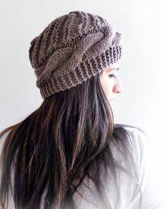 8ad1cc4b85d Free Shipping Brown Knit Cable Hat Women Accessories Bandas Para El  Cabello, Pantuflas, Del