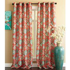Glencove Floral Curtain- Chili