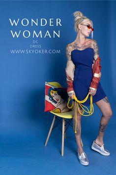 #wonderwoman #dc #justiceleague #comics #dress #disney #woman #girl Skater Dress, Peplum Dress, Dc Superhero Girl, Dc Clothing, Wonder Woman Outfit, Casual Outfits, Girl Outfits, Dc Comics, Leather Jacket