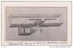"RP: ""ROUGIER"" flying a Vosin Airplane , Blackpool , England , 1909 - Delcampe.com"