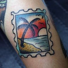 A very cute stamp beach tattoo design. The colors are very bright and the art is pleasant to look at. A perfect design when you want a memento of your time in a faraway beach you visited once.
