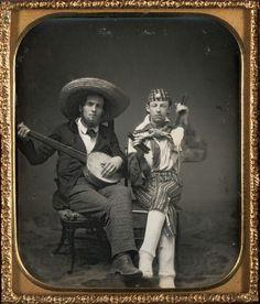 fishstickmonkey: Unknown Traveling Minstrels – banjo and bones c. 1850 Daguerreotype, sixth plate Plate: 3 x 2 inches x cm) Case: 3 x 3 x inches x x cm) Gift of the Hall Family Foundation © Nelson Gallery Foundation (via Art Blart)