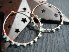 Super lightweight! Hammered copper hoops with wirewrapping by TwistedDesignsbyBeth