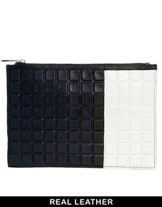 604de42007 ASOS Leather Clutch Bag With 3D Effect -wear w/ black shorts and white top