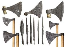 11th century Viking weapons from the Thames. Selection of iron axes and spearheads. The wooden handles are modern additions. In the late 900s and early 1000s Scandinavian rulers like Swein Forkbeard of Denmark and Olaf Tryggvason of Norway tried to gain control of the Danelaw and of the rest of England, and eventually Swein's son Cnut won the English throne.