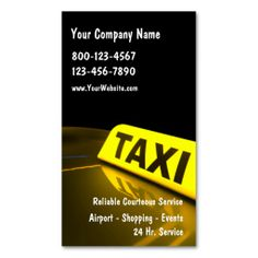 Taxi Business Cards. This great business card design is available for customization. All text style, colors, sizes can be modified to fit your needs. Just click the image to learn more!