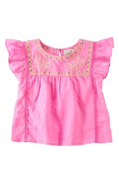 Peek 'Roselle' Flutter Sleeve Top (Baby Girls)