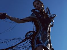 Karen Jessen created her interlaced dress using secondhand jeans and T-shirt production surplus.