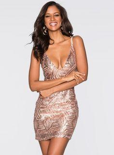 Huge discount on  Spaghetti Strap V Neck Bodycon Night Club Dress Sequin  Mini Dress f60eeaca5