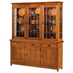 Original Stickley Mission Oak china cabinet w/dimmable interior lighting and matching buffet. All glass and wood shelving included, comes with antique art glass and dark copper. Mission Furniture, Craftsman Furniture, Dream Furniture, Fine Furniture, Home Decor Furniture, Quality Furniture, Furniture Ideas, Wood Furniture, Oak China Cabinet