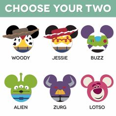 Mickey Heads: Toy Story Mouse Head Laser Die Cuts - altogether, but Zurg no! Disney T-shirts, Disney Cruise Door, Disney Ears, Toy Story Party, Toy Story Birthday, Dibujos Toy Story, Toy Story Cookies, Toy Story Crafts, Toy Story Shirt
