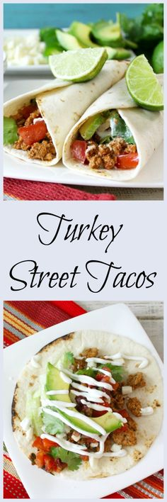 Turkey Street Tacos #TurkeyTuesday - A quick, under 30 minutes gourmet taco dinner that is made with a slightly spicy ground turkey that is topped with a homemade Chipotle Pico de gallo and easy to make Mexican Crema, plus avocado, cotija cheese which is served on slightly charred tortilla shell. @FosterFarms