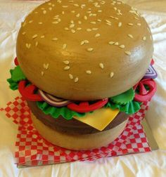 cheeseburger cake (inspired by an awesome tutorial by wicked goodies)